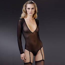 Body culotte col V manches longues porte-jarretelles